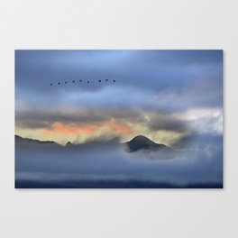 """Sunrise at the mountains"". Birds in the morning. Canvas Print"