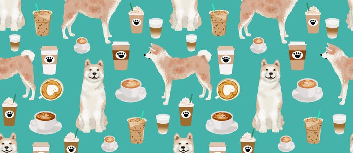 Akita coffee pattern akitas dog breed pet portrait by pet friendly turquoise Coffee Mug