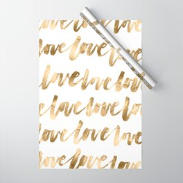 Gold Love Quote Pattern Typography Script Wrapping Paper