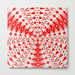 Star White And Red Geometric Shape Kaleidoscope Metal Print
