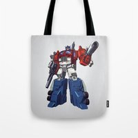 optimus prime Tote Bags featuring Optimus by CromMorc