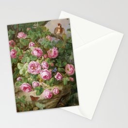 Rose still life with butterflies and bird, Josef Lauer, 1870 Stationery Cards