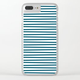 Teal blue and white thin horizontal stripes Clear iPhone Case