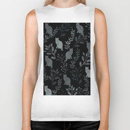 Watercolor Floral and Cat III Biker Tank