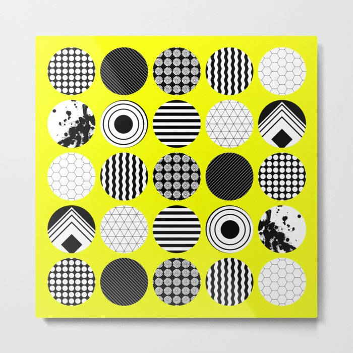 Eclectic Geometric - Black, white and yellow Metal Print