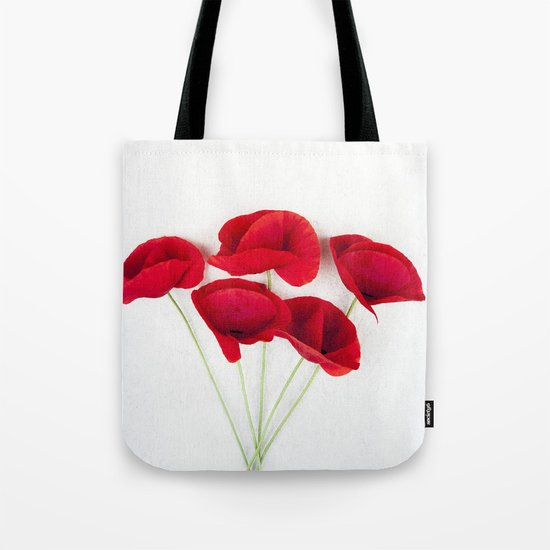 a Bunch Of Red Poppies Tote Bag