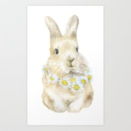Bunny Rabbit with Daisy Wreath Watercolor Art Print