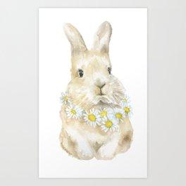 Bunny Rabbit with Daisy Wreath Watercolor Art Print