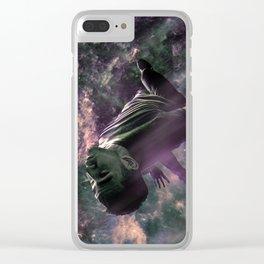 Superhero Chasing Spacecraft Sci-fi Scene Clear iPhone Case