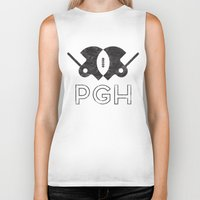 pittsburgh Biker Tanks featuring Pittsburgh Football by John Trivelli