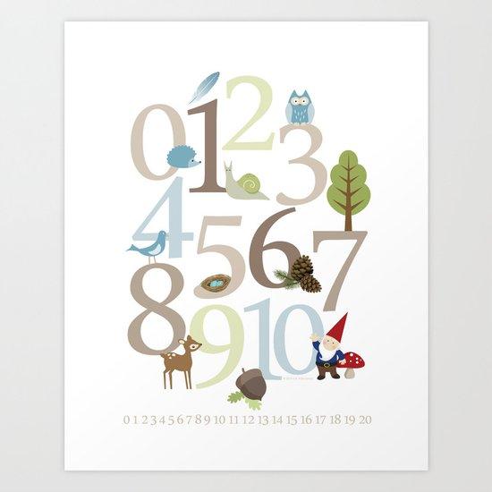 Woodland Numbers Art Print