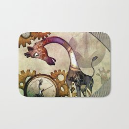 Funny giraffe, steampunk with clocks and gears Bath Mat