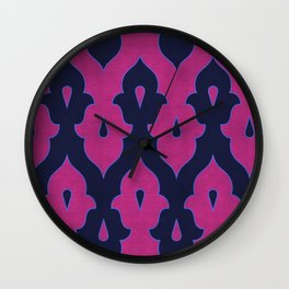 Mauresque Counterchange (Hot Pink - Navy) Wall Clock