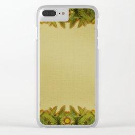 """""""Floral farm (burlap texture)"""" Clear iPhone Case"""