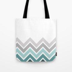 WHITE/ TEAL CHEVRON FADE Tote Bag