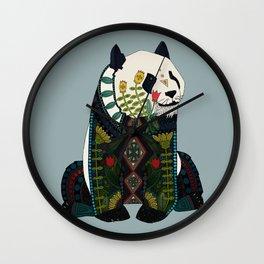 panda silver Wall Clock