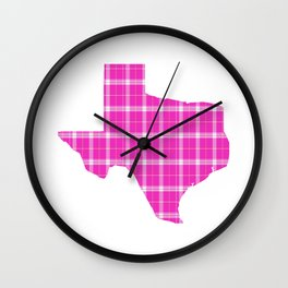 Texas State Shape: Pink Wall Clock