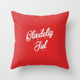 Glaedelig Jul Red Background Throw Pillow