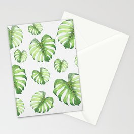 Watercolor monstera pattern Stationery Cards