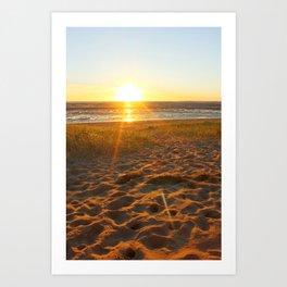 Welsh Beach Sunset Art Print