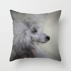 Longing - Silver Standard Poodle Throw Pillow