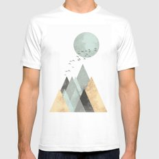 Blue moon Mens Fitted Tee MEDIUM White