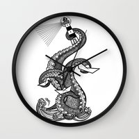 lighthouse Wall Clocks featuring Lighthouse by María Nikólskaya