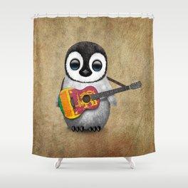 Baby Penguin Playing Sri Lankan Flag Guitar Shower Curtain