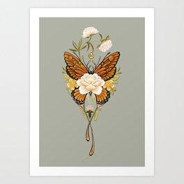 Butterfly Peonies Tattoo Art Print