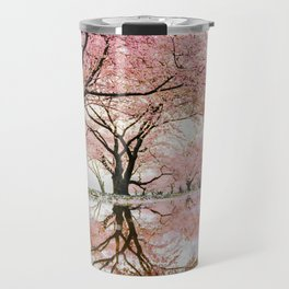 reflective cherry blossoms trees pink petals of flowers Travel Mug
