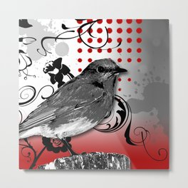 Trash Polka Bird & Flower Abstract Metal Print