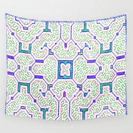 The Song to Support Spiritual Growth - Traditional Shipibo Art - Indigenous Ayahuasca Patterns Wall Tapestry