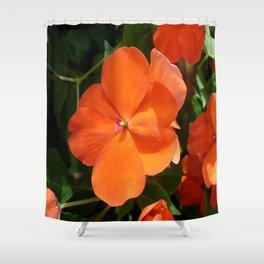 Vivid Orange Vermillion Impatiens Flower Shower Curtain