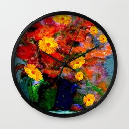 STILL LIFE PAINTING RED & YELLOW FLOWERS Wall Clock