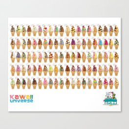Kawaii 100 Soft Serve Ice Cream Cone Combinations  Canvas Print