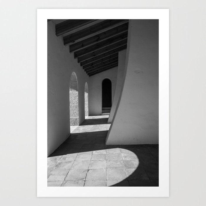 Black and white church hallway art print