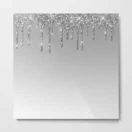 Gray & Silver Glitter Drips Metal Print