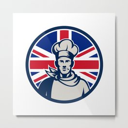 British Baker Chef Union Jack Flag Icon Metal Print