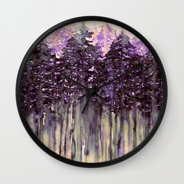 NORTHWEST VIBES Colorful Watercolor Painting Forest Trees Violet Green Modern Nature Art West Coast  Wall Clock