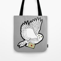 hedwig Tote Bags featuring Hedwig by AriesNamarie