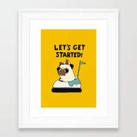 pug Framed Art Prints featuring PUG! by Jarvis Glasses