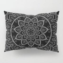 Black and White Lace Mandala Pillow Sham