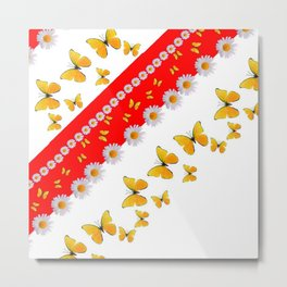 RED MODERN ART YELLOW BUTTERFLIES & WHITE DAISIES Metal Print