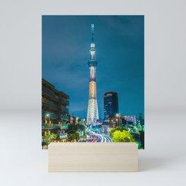 The Tokyo Skytree at night. Mini Art Print