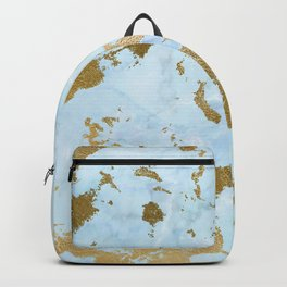 Pale Blue Gold Marble Backpack