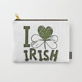 I Love Irish St Patrick's Day Green Shamrock Carry-All Pouch
