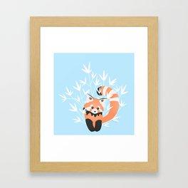 Baby Red Panda / Sky Framed Art Print