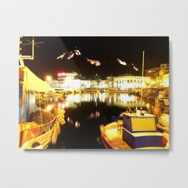 Port Of Myrina At Night Metal Print