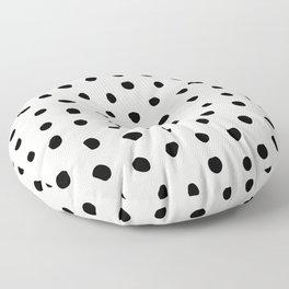 Modern Polka Dots Black on Light Gray Floor Pillow