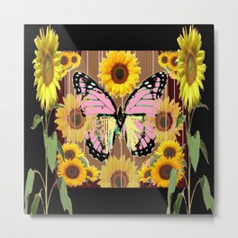 BLACK ABSTRACT PINK BUTTERFLY SUNFLOWER FLORAL Metal Print